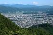 Yamanashi Prefecture, Japan - July 10, 2017: View of Fujiyoshida town looking from Chureito Pagoda. - 228349193