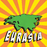 map of eurasia in retro comic style on background with halftone dots and radial lines