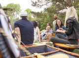 carefree party mood of young adults having picnic outdoor - 228355727