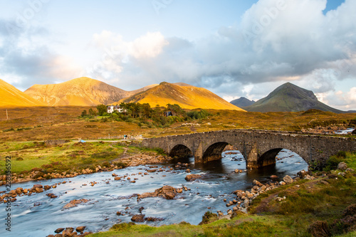 Fototapeta Sligachan Bridge and The Cuillins, Isle of Skye at sunset
