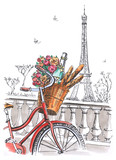 Valentine's Day in Paris. A walk on the bike. Drawing by hand.  Book illustration, touristic postcard or poster.