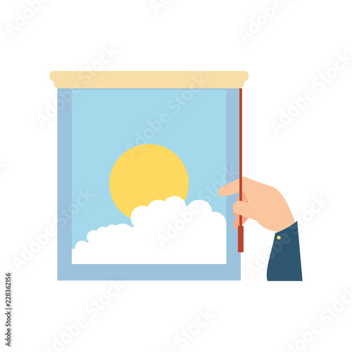 hand and window with view of day isolated icon - 228362156
