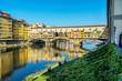 Leinwanddruck Bild - Ponte Vecchio and Arno, Florence, Italy