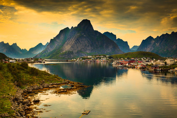 Fjord and mountains landscape. Lofoten islands Norway © Voyagerix
