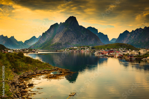 Fjord and mountains landscape. Lofoten islands Norway - 228365102