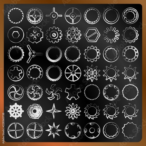 Set of gears on a blackboard vector image © Koriolis