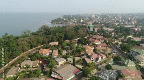 Fridge magnet 4K Drone Aerial Africa city village beach