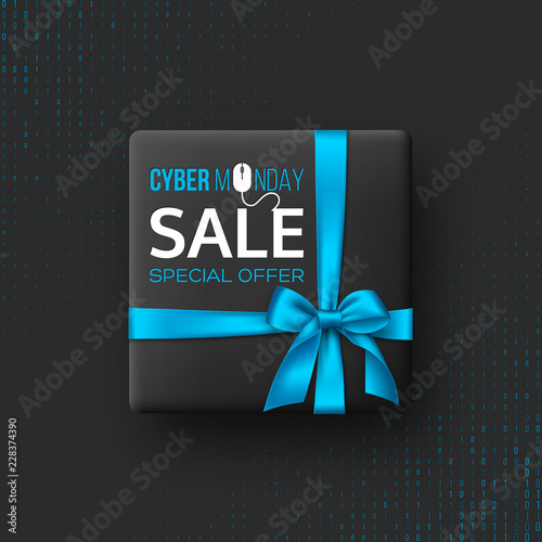 Cyber monday sale poster or banner for seasonal discounts. Black box with realistic silk blue bow on code background. Sale concept. Vector illustration.