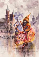 "Постер, картина, фотообои ""Lajkonik (man and horse) one of the symbols of the Cracow. Mariacki church i background. Picture created with watercolors."""