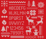 Set of knitted font, elements and borders for Christmas, New Year or winter design. Ugly sweater style. Sweater ornaments for scandinavian pattern. Vector illustration. Isolated on red background. - 228377387