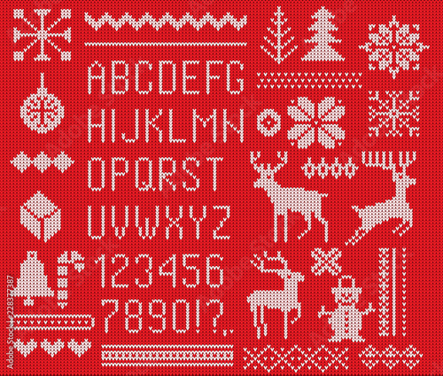 Set of knitted font, elements and borders for Christmas, New Year or winter design. Ugly sweater style. Sweater ornaments for scandinavian pattern. Vector illustration. Isolated on red background.