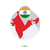 India map and flag, vector map icon with highlighted India
