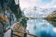 Leinwandbild Motiv Great alpine lake Braies (Pragser Wildsee). Location place Dolomiti, national park Fanes-Sennes-Braies, South Tyrol, Italy.