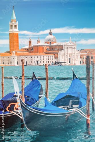 Traditional gondolas near St Marks Square in Venice