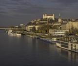 Cruise ships on the banks of river Danube in Bratislava, Slovakia