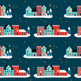 Christma houses on winter seamless pattern - 228397315