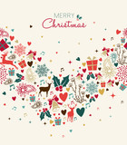 Christmas greeting card with vintage holiday icons - 228397323
