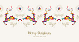Christmas and New Year low poly reindeer card - 228397338