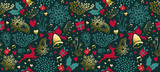 Vintage Christmas gold decoration seamless pattern - 228397544