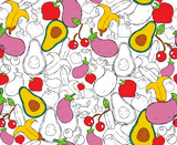 Hand drawn food seamless pattern for nutrition - 228397779