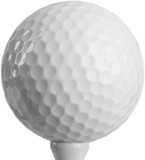 Close Up of Golf Ball on Tee, Isolated on Transparent Background