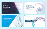 Set of web page design templates with abstract background for strategic partnership, consulting, business success, crowdfunding. Vector illustration concepts for website development.  - 228398955