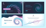Set of web page design templates with abstract background for big data analysis, software, market research . Modern vector illustration concepts for website and mobile website development.  - 228399741