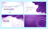 Set of web page design templates with abstract background for business services, creative design solutions, design agency. Vector illustration concepts for website and mobile website development.  - 228399781