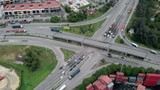 Drone shots of traffic and containers around the shipping port called northport in Klang, Malaysia - 228399911