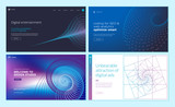 Set of web page design templates with abstract background for digital entertainment, design studio, seo, digital marketing. Vector illustration concepts for website and mobile website development.  - 228399916
