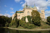 View to romantic Bojnice castle with garden in Bojnice, Slovakia