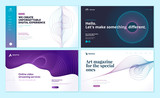 Set of web page design templates with abstract background for social marketing, video streaming, online art magazine. Modern vector illustration concepts for website and mobile website development.  - 228400708