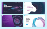 Set of web page design templates with abstract background for mobile marketing, social marketing, design studio, digital entertainment. Modern vector illustration concepts for website development.  - 228400783