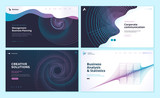 Set of web page design templates with abstract background for business analysis and statistics, management, corporate communication. Modern vector illustration concepts for website development.  - 228400904