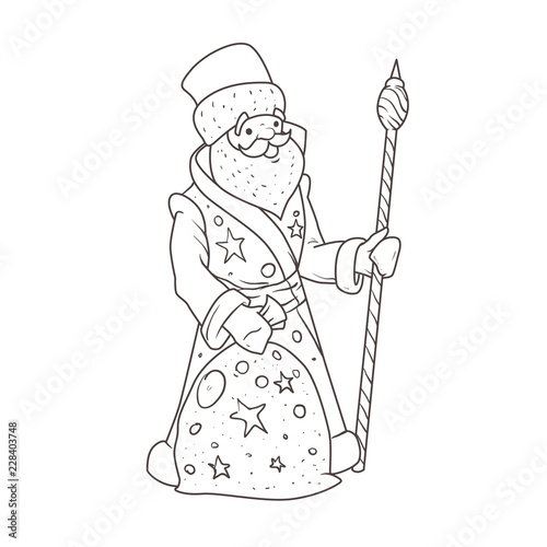 Illustration of Santa Claus for coloring book.