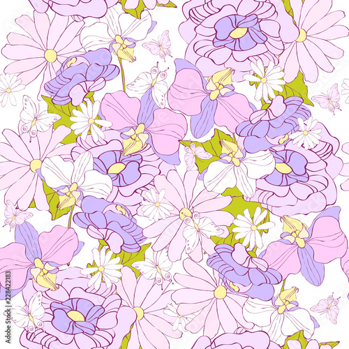 beautiful pink flowers , on a white - 228422183
