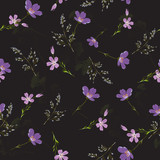 Delicate seamless pattern with wildflowers . Vector illustration. - 228428908