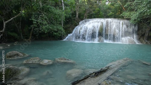 Sticker Sightseeing waterfall in the forest, Travel at natural park Thailand