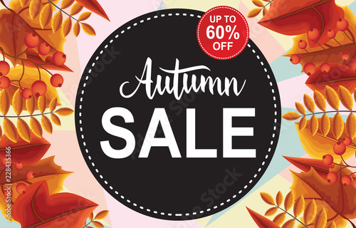 Autumn Sale Fall Leaves Shopping Promotion Card Label Banner