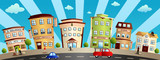 City Buildings and Shops Cartoon Illustration - 228442741