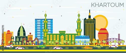 Khartoum Sudan City Skyline with Color Buildings and Blue Sky.