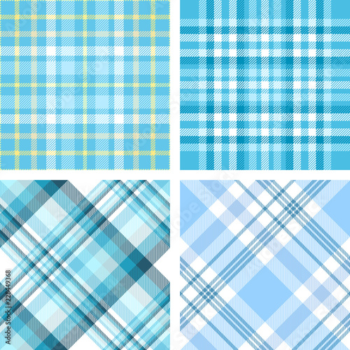 Set Of Four Seamless Plaid Check Pattern In Shades Pastel Blue