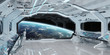Leinwandbild Motiv White clean spaceship interior with view on planet Earth 3D rendering