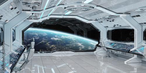 Biały czysty statku kosmicznego wnętrze z widokiem na planety ziemi 3D renderingu