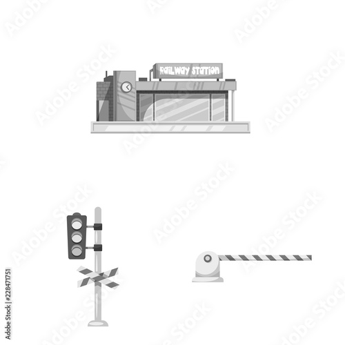 Isolated object of train and station symbol. Set of train and ticket vector icon for stock.