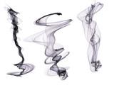 Set of three Indigo digital smoke  plumes isolated on a white background - 228474987