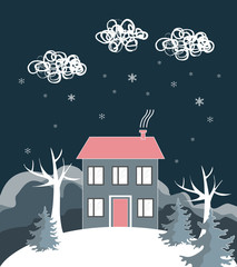 Cartoon winter landscape, with house and snow hill. Vector Illustration © Toltemara