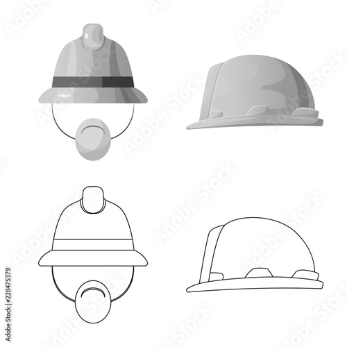 Isolated object of headgear and cap logo. Collection of headgear and accessory stock vector illustration.