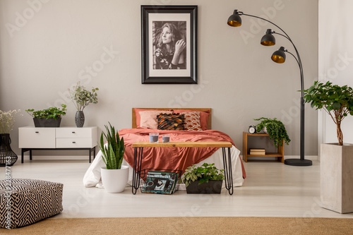 Framed poster of beautiful girl above king size bed with rust color bedding in spacious bedroom interior of modern apartment, real photo © Photographee.eu