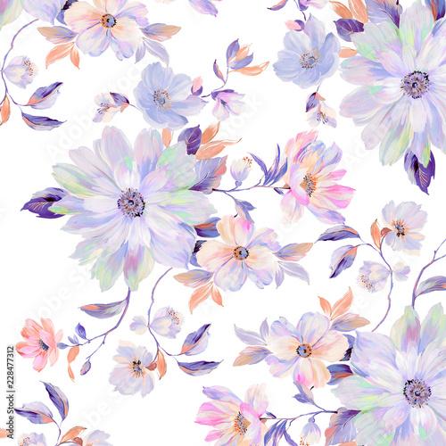 Colorful roses, peony flowers, nice chrysanthemums - 228477312
